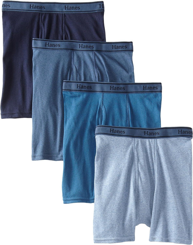 Hanes Ultimate Men's 4-Pack FreshIQ Tagless Cotton Boxer with ComfortFlex Waistband Briefs, Assorted Blues, Medium