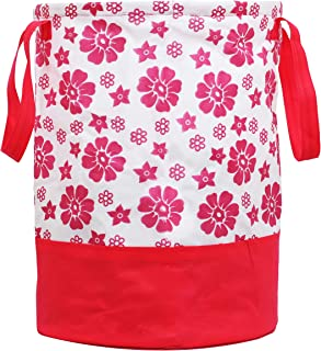Kuber Industries Flower Printed Waterproof Canvas Laundry Bag, Toy Storage, Laundry Basket Organizer 45 L (Pink) CTKTC034621