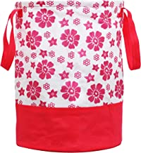 Kuber Industries Flower Printed Waterproof Canvas Laundry Bag, Toy Storage, Laundry Basket Organizer 45 L (Pink) CTKTC134621