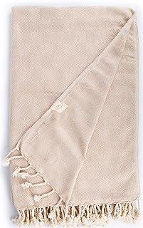 Bersuse 100% Algodón - Milas XXL Manta Toalla Turca - Multiusos Colcha de Cama, Funda de Sofa - Fouta para Baño y Playa, con Diseño de Diamante- Oeko-Tex - 150 x 230 cm, Beige