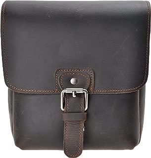 Small Leather Camera Bag ZLYC Vintage DSLR Bag Removable Shockproof Padded Camera Case Unisex Messenger Shoulder Bag Satchel, Dark Brown