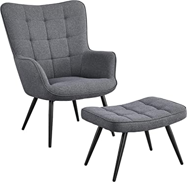 YAHEETECH Lazy Chair with Ottoman Nordic Single Small Sofa Balcony Lounge Chair Casual Fabric Arm Chair with Foot Rest, Gray