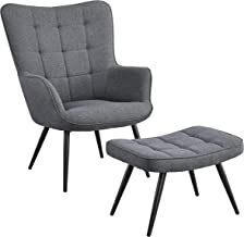 YAHEETECH Contemporary Accent Chair with Ottoman Mid Century Modern Tufted Fabric Lounge Chair with Ottoman Lounge Sofa Ch...