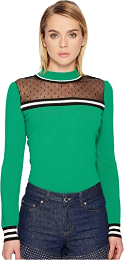 RED VALENTINO - Stretch Viscose Pullover with Point D'Esprit