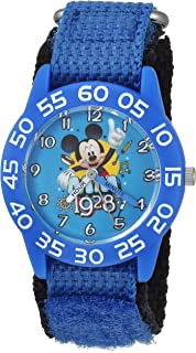 DISNEY Boys Mickey Mouse Analog-Quartz Watch with Nylon Strap, Blue, 15 (Model: WDS000218