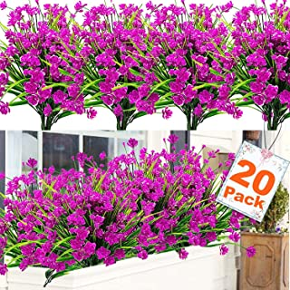 20 Bundles Artificial Flowers for Outdoor Decoration, UV Resistant Faux Outdoor Plastic Greenery Shrubs Plants Artificial Fake Flowers Hanging Planter Kitchen Home Wedding Office Garden Decor (Pink)