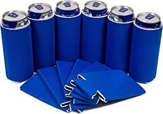QualityPerfection - 6 Ultra Slim Can Coolers Sleeves - 12 oz Blank Skinny Premium Slim Sleeves - Great 4 Holidays,Events,Parties,Independence Day (6, Royal Blue)
