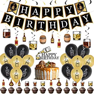 Whiskey Birthday Decorations, Beer Mug Whiskey Birthday Party Supplies,Whiskey Birthday Party Decorations Banner Spiral Decorations Balloons Cake Top Hat for Cheers and Beers Themed Birthday Party