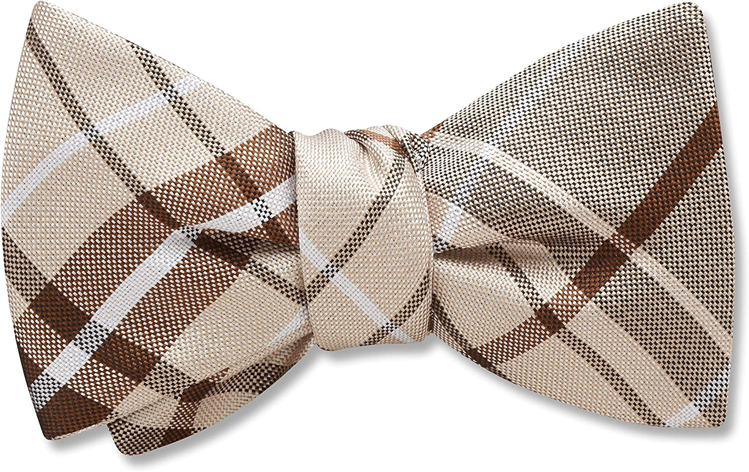 Mansfield Champagne Brown,White Plaid, Men's Bow Tie, Handmade in the USA