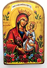 Handmade Wooden Greek Christian Orthodox Wood Icon of Virgin Mary The Unwithering Rose / MP2