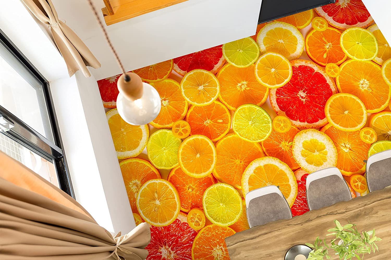 3D Orange Slices 8126 70% OFF Outlet Floor Wallpaper Superlatite Print Wall Decal AJ Murals
