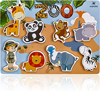 Wooden Chunky Puzzle Zoo Animal Pieces Learning Educational Puzzle Board with Free Standing Pieces for Toddlers & Kids (8 pcs) Gleeporte