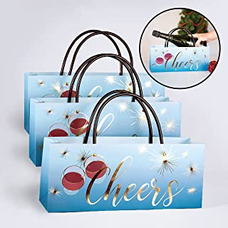 Cheers Wine Gift Bags Set of 3 - High Quality Paper Gift Bags for Vino or Champagne by Simply Charmed