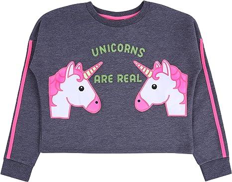 Primark Sudadera Corta de Color Gris-neón Unicornio 13-14 ...