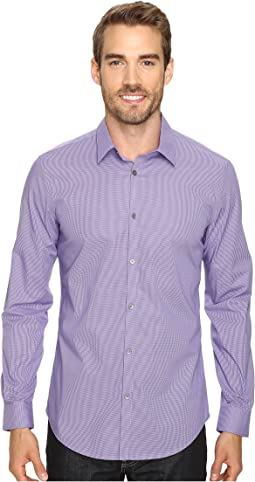 Calvin Klein - Slim Fit Long Sleeve Infinite Cool Button Down Micro Check Shirt