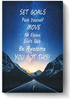 Inspirational Wall Art STRETCHED CANVAS 18x12 inches for Home Office, College Dorm, Motivational Quote Decor Posters, Positive Encouraging Growth Mindset Quotes for Classroom, Inspiring Poster, Canvas