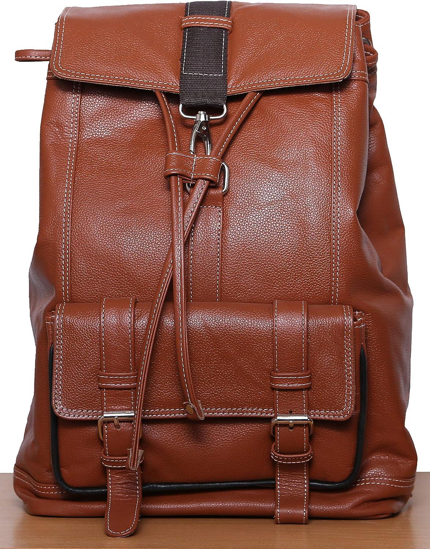 Unisex Casual Leather Backpack Canvas Rucksack Bookbag School Backpack Travel Outdoor Shouder Bag (Brown Rucksack)