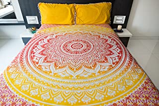 Ombre Mandala Bedspread with Pillow Covers, Indian Bohemian Tapestry Wall Hanging, Picnic Blanket or Hippie Beach Throw, H...