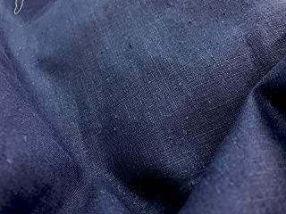 Amornphan 100% Navy Blue Plain Solid Color Natural French Linen Fabric for Clothing Home Decor Pillow Sofa 56 Inches by The Yard (280 Gram)