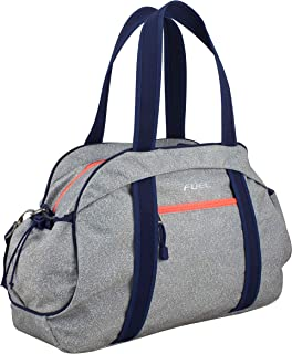 Fuel Sport Carryall Duffel For Gym, Travel or Weekend Gateway, Gray Static Dots/Cobalt Trim/Pop Coral Zippers