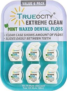 پاک کننده دندان 6 عددی Trueocity ، نعناع طبیعی واکس زده شده برای کشیدن نخ دندان راحت ، تمیز کردن فوق العاده برای بزرگسالان ، نوجوانان ، کودکان ، نگهدارنده ایستاده ایستاده با سمت راست ، اندازه مناسب برای سفر