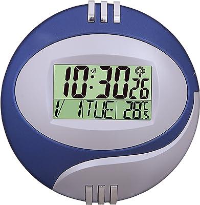 Kadio Plastic Digital Clock (20 cm x 20 cm x 1.5 cm, Blue and Silver)