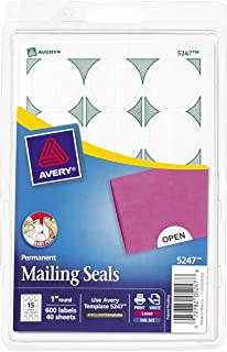Avery Mailing Seals for Laser and Inkjet Printers, 1 inch Round, White, Pack of 600 (5247)