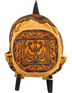 30458f077fbb Changnoi Boho Book Bag Ethnic Style Hmong Embroidered in Orange Birds