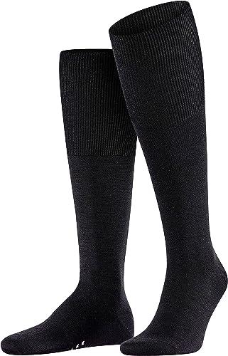 FALKE Men's Airport Knee-High Socks Merino Wool Cotton Black Grey More Colours Thin And Light Warm Long Socks Plain F...