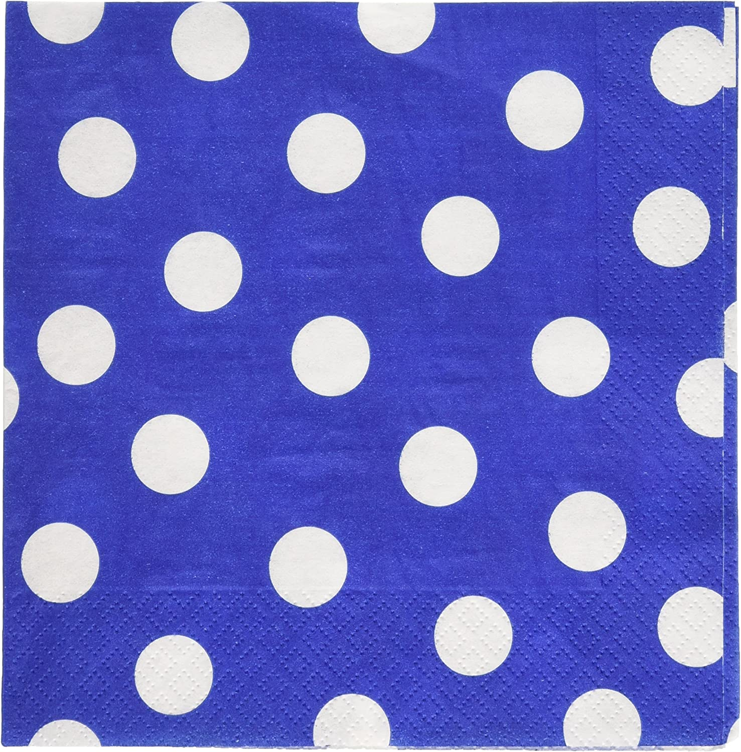 Amscan 511537.10499999998 Ready Polka Dots Luncheon Napkins Bright Royal bluee Paper 6  X 6  Pack 16 Party Tableware, 192 Pieces