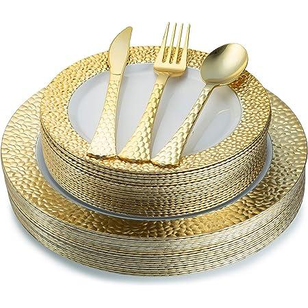 Juego de 100 platos de plástico desechables de oro y cubiertos de plástico pesado para colocar   Servicio para 20 invitados incluye 20 platos de cena 20 platos de postre, 20 tenedores 20 cucharas 20 cuchillos