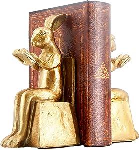 Bellaa 22883 Rabbit Bookends Studious Reading Bunny 7 Inch