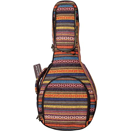 MUSIC FIRST Original Design 15mm Thick Padded Country Style A & F Style (Standard) Mandolin Gig Bag (Soft Case) Soft Mandolin Case Fits for Most of A Mandolin