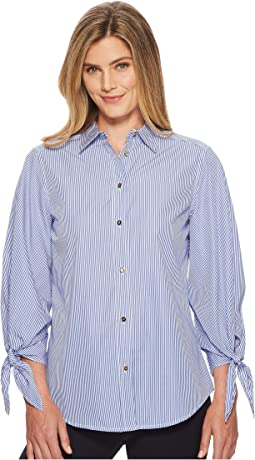 Striped Tie-Sleeve Woven Shirt