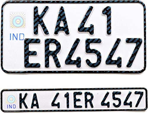 Bike Aluminium IND Number Plate Front and Back - White