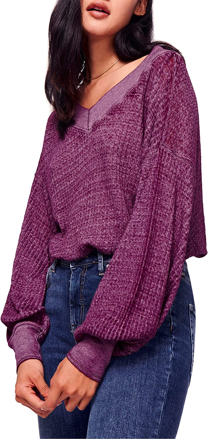 We The Free Womens Southside Ribbed Double V Thermal Shirt Purple XS