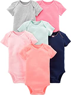 Simple Joys by Carter's 6-Pack Short-Sleeve Bodysuit Bebé-Niñas, Pack de 6