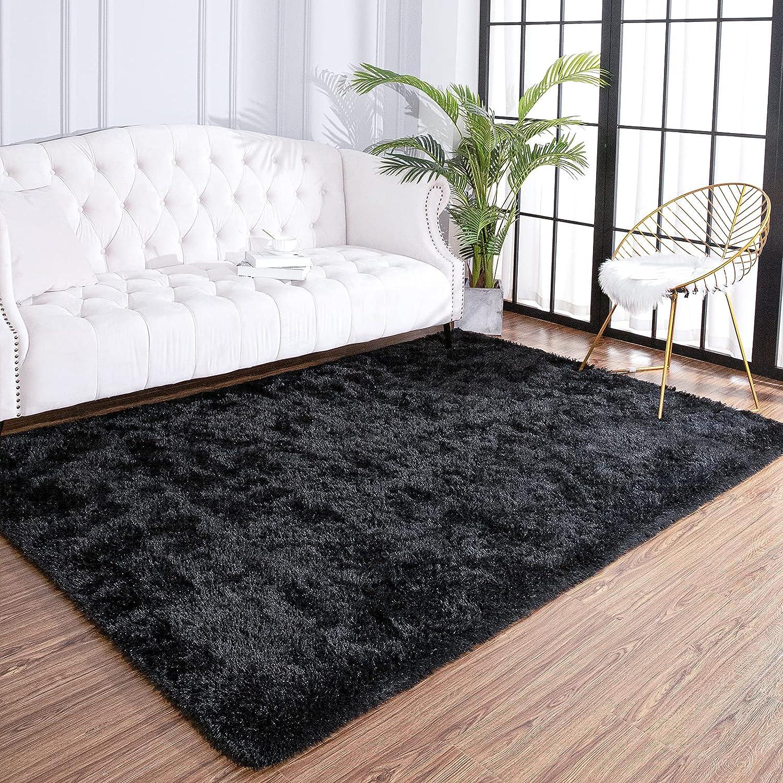 Amazon Com Arogan Fluffy Rug For Bedroom Black Living Room Area Rugs Plush Soft Fuzzy Throw Rug Comfy Shag Carpet For Nursery Kids Girls Play Area 4x5 9 Feet Home Kitchen
