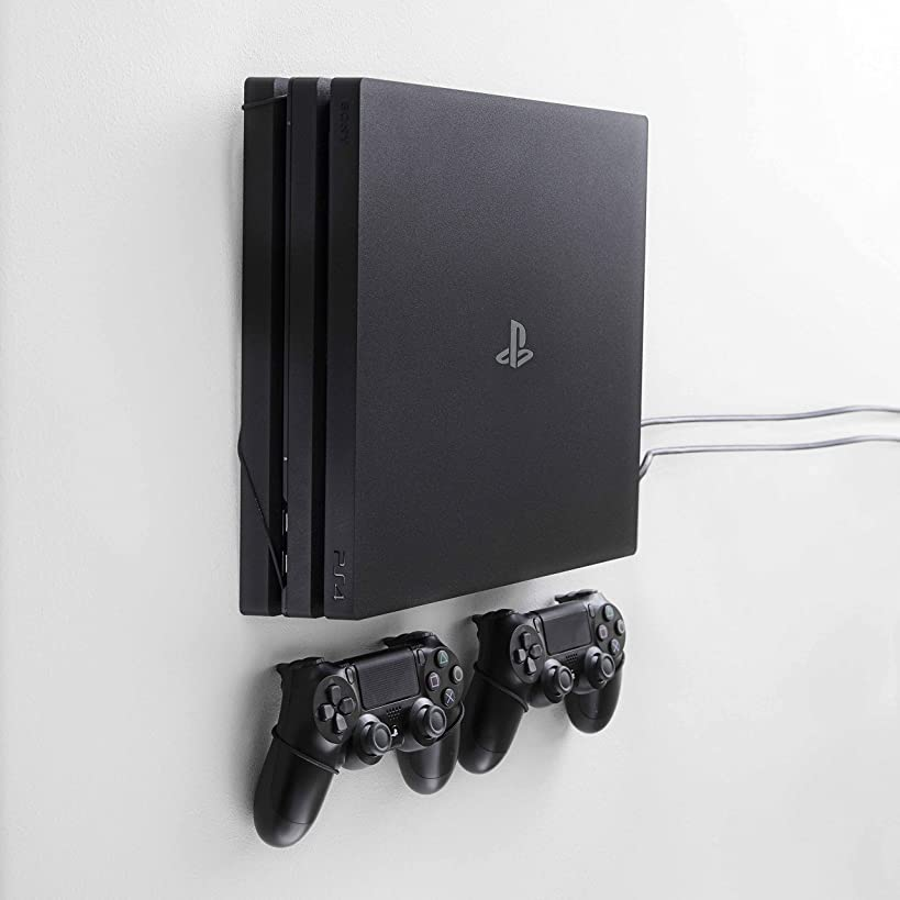 FLOATING GRIP mounts for PS4 Pro, bundle package for PlayStation 4 and controllers, vertical rope wall mounts (black), Patent pending and proprietary design, Made in Denmark