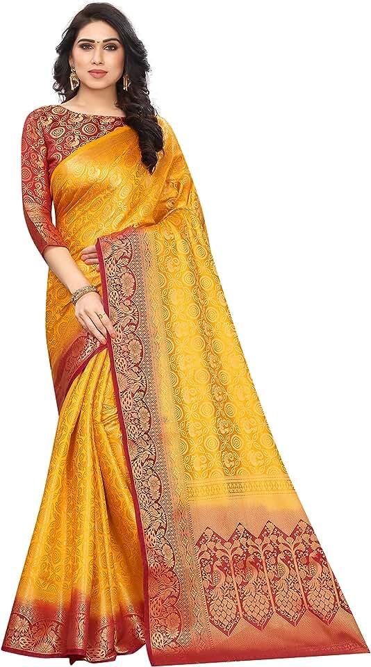 Indian Satyam Weaves women's ethnic wear kanjivaram woven jacquard cotton silk saree (Bhaartii) Saree