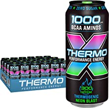 Rockstar Thermogenic Neon Blast Energy Drink, Caffeine, 0 calories, Green Tea Extract, 16 oz cans, 24 Count