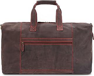 LEABAGS Sydney Reisetasche Handgepäcktasche Sporttasche aus echtem Leder im Vintage Look, LxBxH: ca. 64 x 25 x 34 cm - NeonRed