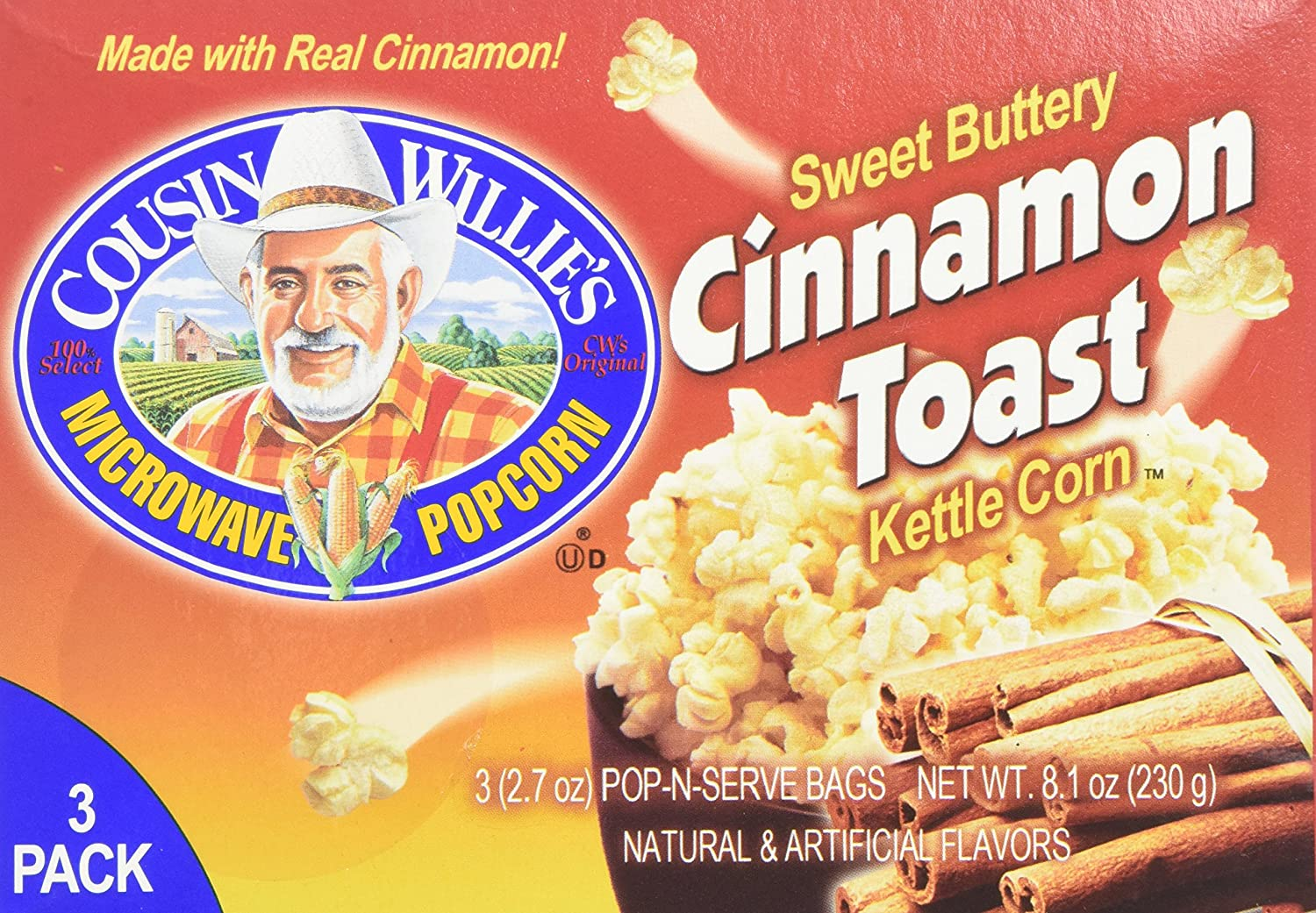Cousin Max 65% OFF Willie's Microwave Popcorn Sweet Buttery Weekly update Toast Cinnamon K