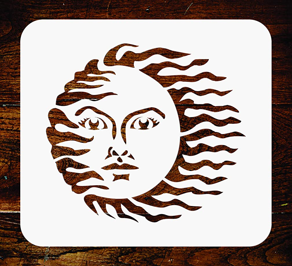 Vintage Sun Stencil- 5 x 4.5 inch - Reusable Celestial Nouveau Deco Wall Stencils Template - Use on Paper Projects Scrapbook Journal Walls Floors Fabric Furniture Glass Wood etc.