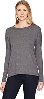 Fruit of the Loom Women's Essentials All Day Long Sleeve Scoop Neck T-Shirt, Black Heather, X-Large