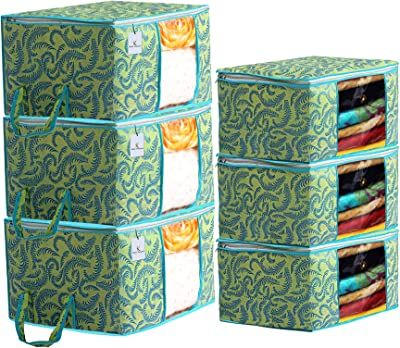 Kuber Industries Metallic Printed Non Woven 3 Pieces Saree Cover and 3 Pieces Underbed Storage Bag, Cloth Organizer for Storage, Blanket Cover Combo Set (Green) -CTKTC038527