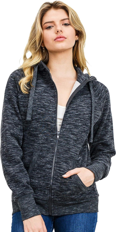 esstive Women's Ultra Soft Fleece Comfortable High Neck Casual Solid Basic Lightweight Full Zip Hoodie Jacket