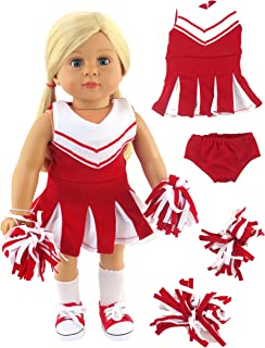 Red and White Doll Cheerleader Cheerleading Outfit Uniform | Fits 18