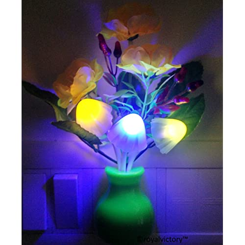 Pink Kites Plastic Romantic Mushroom LED Night Lamp with Green Pot, Yellow Roses for Home Decoration items