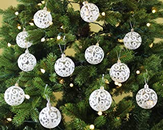Sleetly Christmas Ornaments, Transparent White Swirl, 2.36 inch, Set of 18